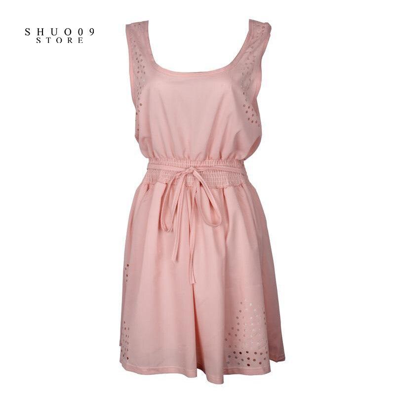 1948905a03ee 2018 Nouveau Sexy Robe Mince Sans Manches Creux Blanc Femmes Lady  Mousseline de Soie Mini Robes casual Robes blanc rose