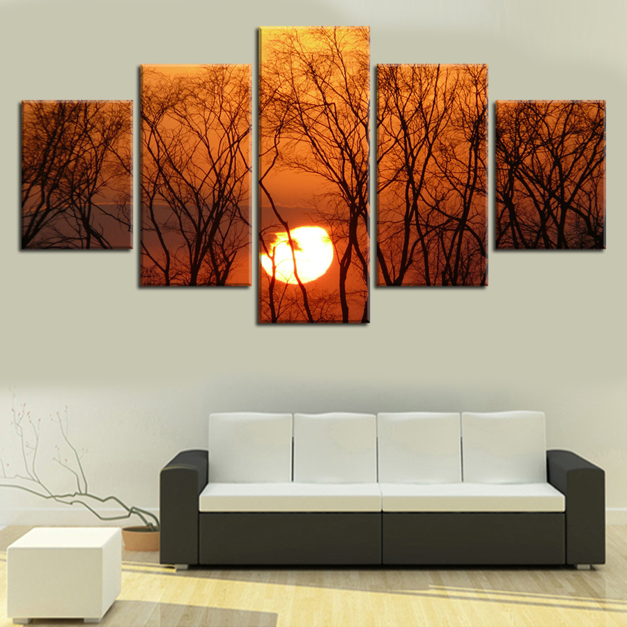 Unframed 5pcs Sunset In The Woods Canvas Painting Modern