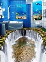 3 D Pvc Flooring Custom Wall Paper Sticker The Waterfall Water Pool 3d Bathroom Flooring Paintings
