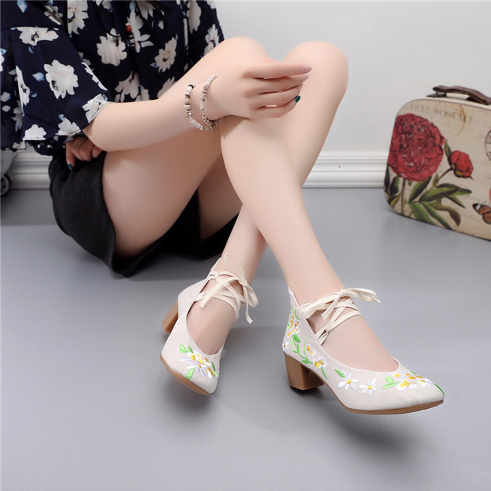 8b5a283285 Chinese Women Pumps Cotton Fabric Casual Mid Block Heels Shoes Flower  Embroidered Lace Up Ballerina Shoes Zapatos Mujer-in Women's Pumps from  Shoes on ...