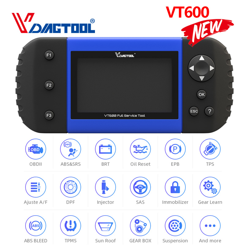VDIAGTOOL VT600 Key Programmer OBD2 Automotive Scanner Diagnostic Tool Engine ABS SRS EPB Oil Service Reset Injector Coding