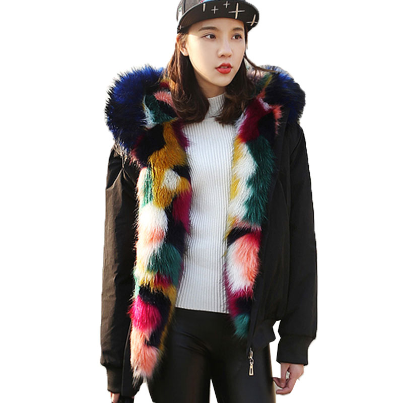 2018 Winter Short Fur Jacket Women Warm Thick Faux fur coat Parka Fox Fur Collar Hooded Female Jacket Outwear chaqueta mujer L95
