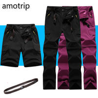 Amotrip Outdoor Summer Men Women Sports Quick Dry Pants Camping Climbing Trekking Hiking Pants Removable Thin