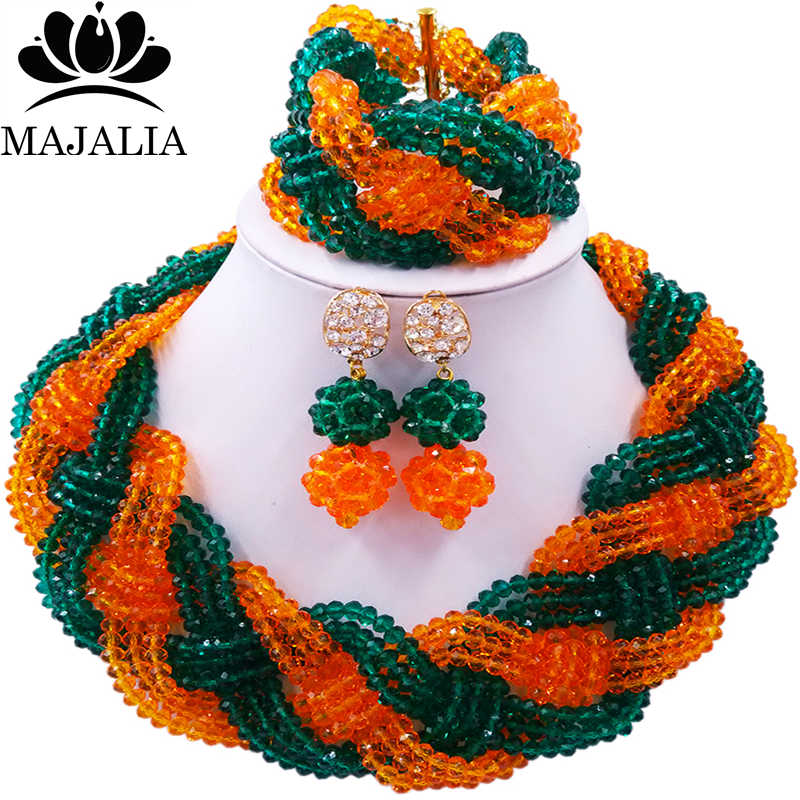 Majalia African Fashion Women Jewelry Set Army green orange Nigerian Wedding Jewelry Beaded Sets 12CB0010 недорго, оригинальная цена