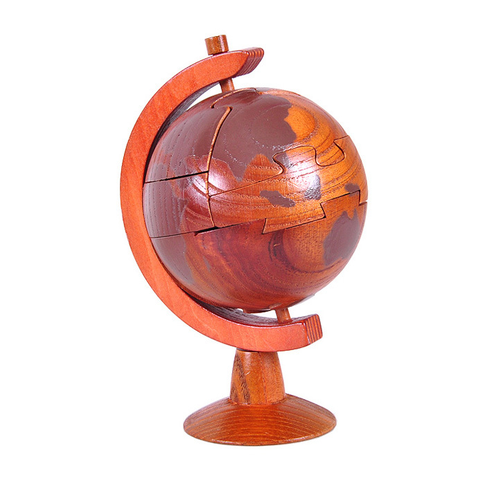 Kids educational assembling wooden toys IQ sandalwood Globe tellurion puzzle decoration craft