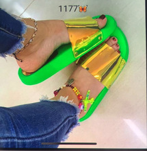 SWONCO Slipper Shoes Women Summer Slippers 2019 Neon PVC Beach Slides Casual Female Platform For 42 Size