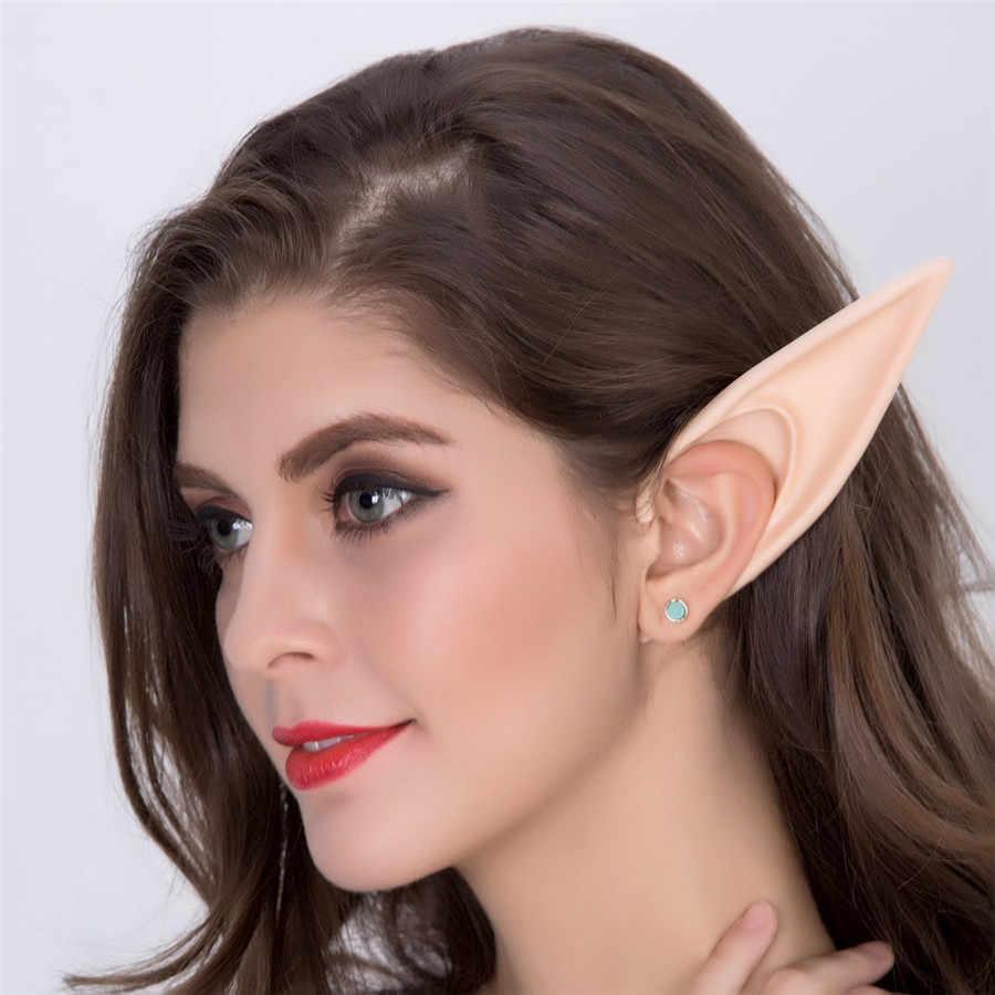 Вечерние латексные мягкие остроконечные уши ангела эльфа на Хэллоуин, карнавальные аксессуары для косплея, протезирование наконечники, накладные уши