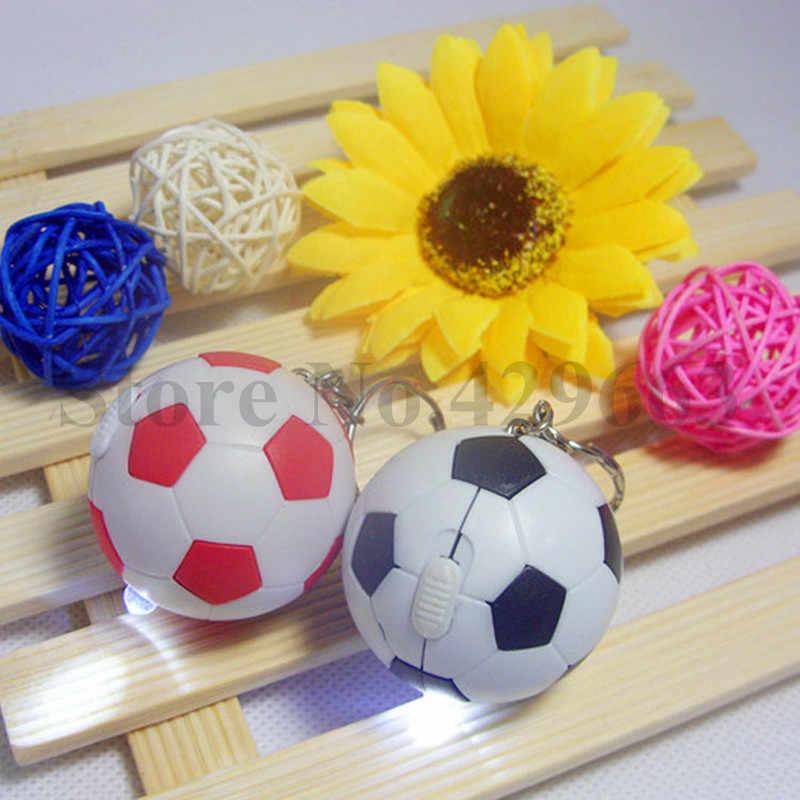 30 шт./лот разноцветные брелок мини мяч Пластик СВЕТОДИОДНЫЙ футбольный брелок футбол брелок светодиодный брелок для ключей футбольный брелок