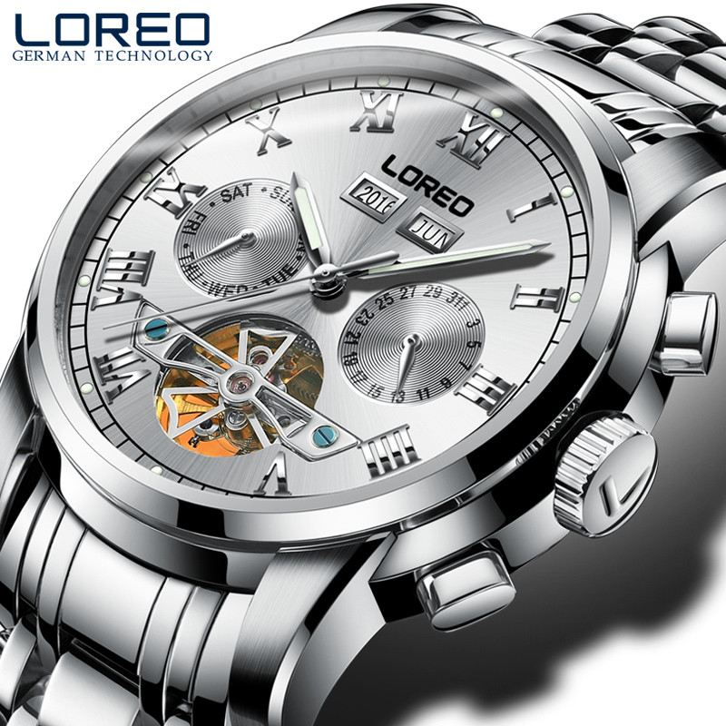 LOREO Watches Men Luxury Luminous Design Military Waterproof Sports Mechanical Wristwatches Men Full Steel Business Watch J91 loreo watches men 2017 luxury luminous waterproof sports mechanical wristwatches fashion gold full steel hollow business watch