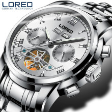 LOREO Watches Men Luxury Luminous Design Military Waterproof Sports Mechanical Wristwatches Men Full Steel Business Watch J91
