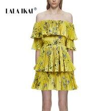 7587d60d92 LALA IKAI 2018 Women Summer Mini Yellow Floral Printed Slash Neck Girl Beach  Dresses
