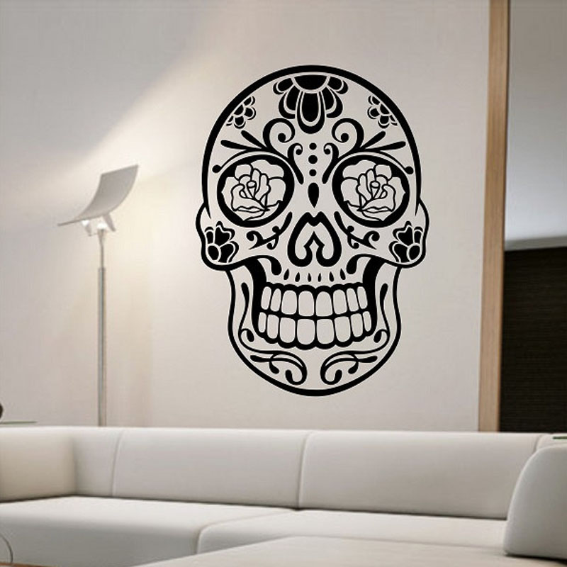 Sugar Skull Wall Stickers Bedroom Creative Home Decor Removable Wall Decals Vinyl Art Murals