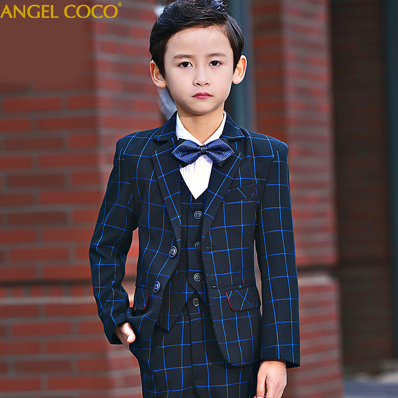 Blue Kids Blazers Vests Suit For Prom Daily Casual Jacket Double Breasted 5 Pieces Clothing Flower Boy Custumes For Wedding 2018Blue Kids Blazers Vests Suit For Prom Daily Casual Jacket Double Breasted 5 Pieces Clothing Flower Boy Custumes For Wedding 2018
