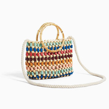 Colorful Beads Woven Bag Color Hand Pearl Shoulder Bag Straw Crossbody Bag Women High-end Fashion Small Handbag Drop Shipping A4 color splicing faux pearl magnetic closure crossbody bag