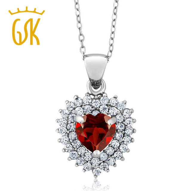 GemStoneKing 2.47 Ct Heart Shape Natural Red Garnet Pendant Necklace For Women 925 Sterling Silver Fine Jewelry Christmas Gift