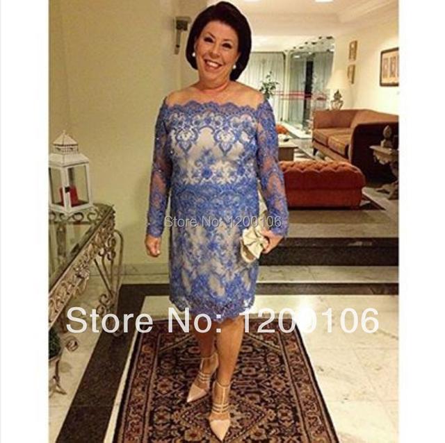 Joelho curto mãe da noiva vestidos manga comprida com apliques azul barco
