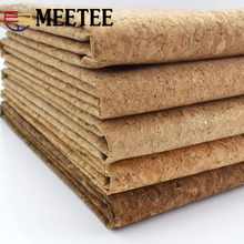 Meetee 90x140cm 0.5mm Pure Natural Cork Leather Fabric Wood Grain Cloth Soft Material for Background Shoes Handbag Decor Crafts