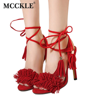Women Summer Shoes Gladiator High Heel Sandals 2016 Fashion Brand Tassels Sandlias Blue Red Sexy Ladies