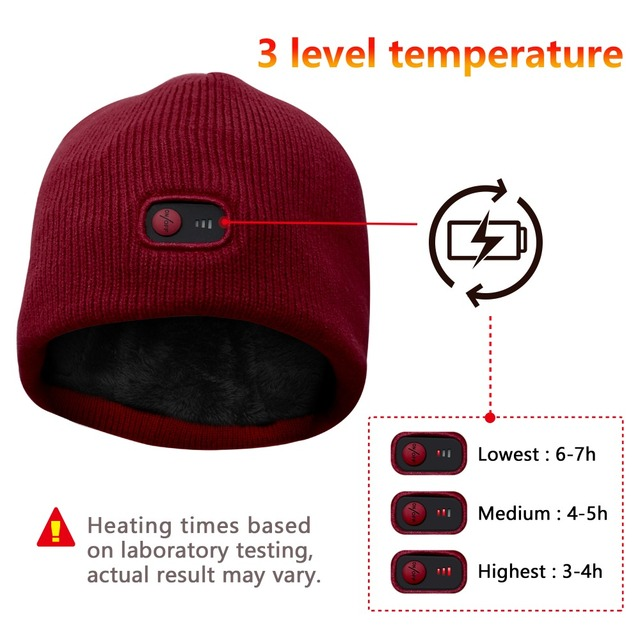 Red 7.4V battery heated Beanie Caps for Women Heated WarmStretchy Soft  Winter Knit Caps Headwear
