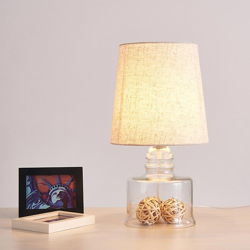 Modern Glass Table Lamp Fabric Lampshade Office Living Bedroom Bedside  Decor Table Lights Home Lighting E27 110 220V