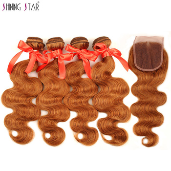 Malaysian Body Wave Human Hair Extensions 4 Bundles With Closure Color 30 Gold Blonde Hair Weave Bundles With Closure Non Remy