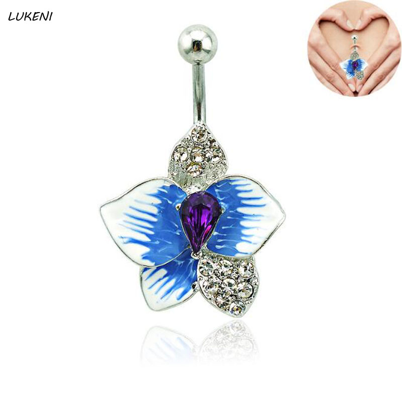 1 Pcs/set Fashion Enamel Cubic Zircon Flowers Navel Piercings Belly Button Rings Bikini Women Body Jewelry