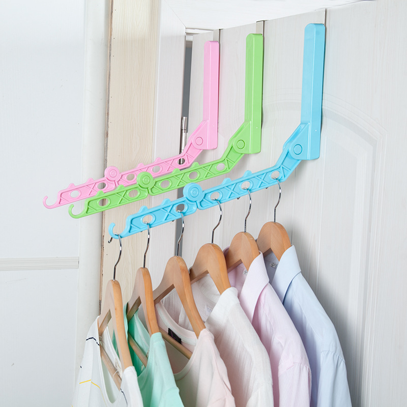 6 Hole Foldable Hanger Rack With Hook Door Hanging Clothes Hanger Magic Space Save Clothing Tie Organizer Creative Drying Rack