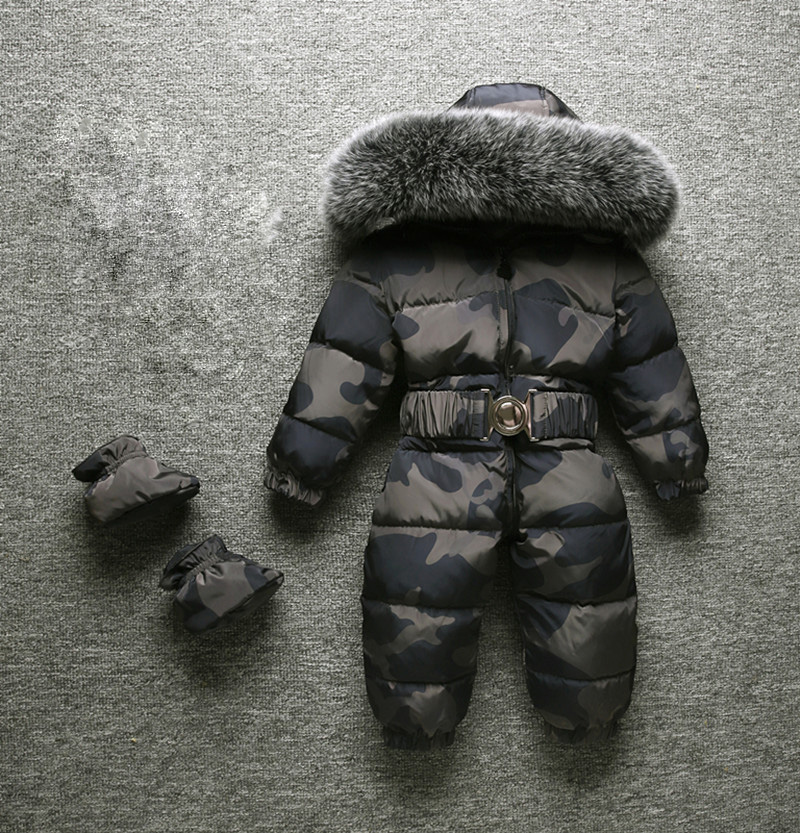 2019 Winter New Baby Boy Child Girl Rompers Winter Snowsuits Big Fur High Quality Keep Warm