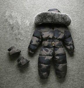 Image 1 - 2020 חורף חדש תינוק ילד ילד ילדה Rompers חורף חליפות הללו גדול פרווה באיכות גבוהה להתחמם עיצוב לילדים מעל סרבלי