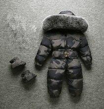 2020 kış yeni bebek erkek çocuk kız tulum kış tulum büyük kürk yüksek kalite tutmak sıcak tasarım boyunca çocuklar için tulumlar
