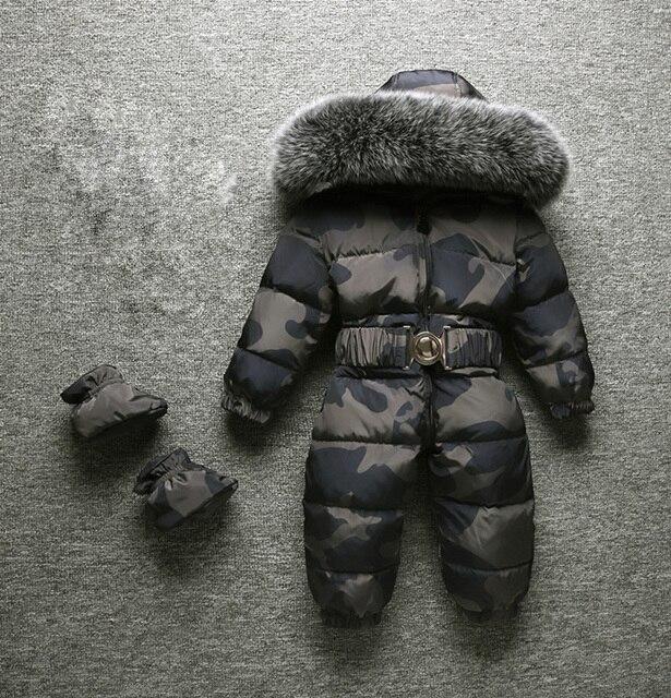 Новинка 2020, зимние комбинезоны для маленьких мальчиков и девочек, зимние комбинезоны с большим мехом, высококачественный утепленный дизайн для детей, комбинезоны