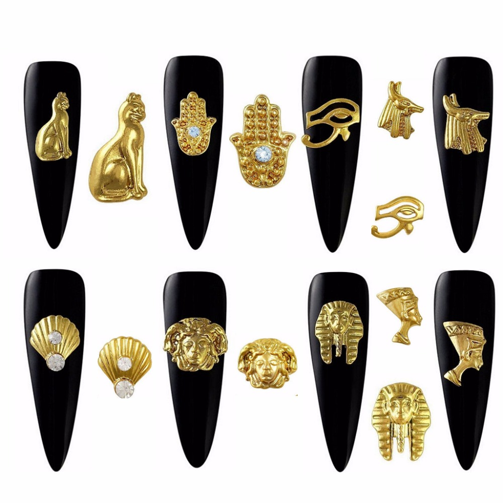 20pcs Gold Metal Egyptian pharaoh Cleopatra design alloy charms for nail art Decoration Accessories Supplies Tools  2018 new|charm for nail|nail art charmsnail charms - AliExpress