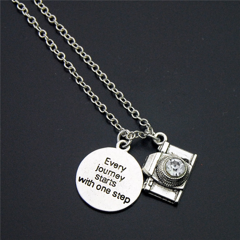1PC Vintage Silver Camera Pendants Charms WordEvery Journey Starts With One StepNecklace ...