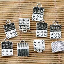 40 шт тибетские серебряные бусины таблетки чехол Подвески EF1373