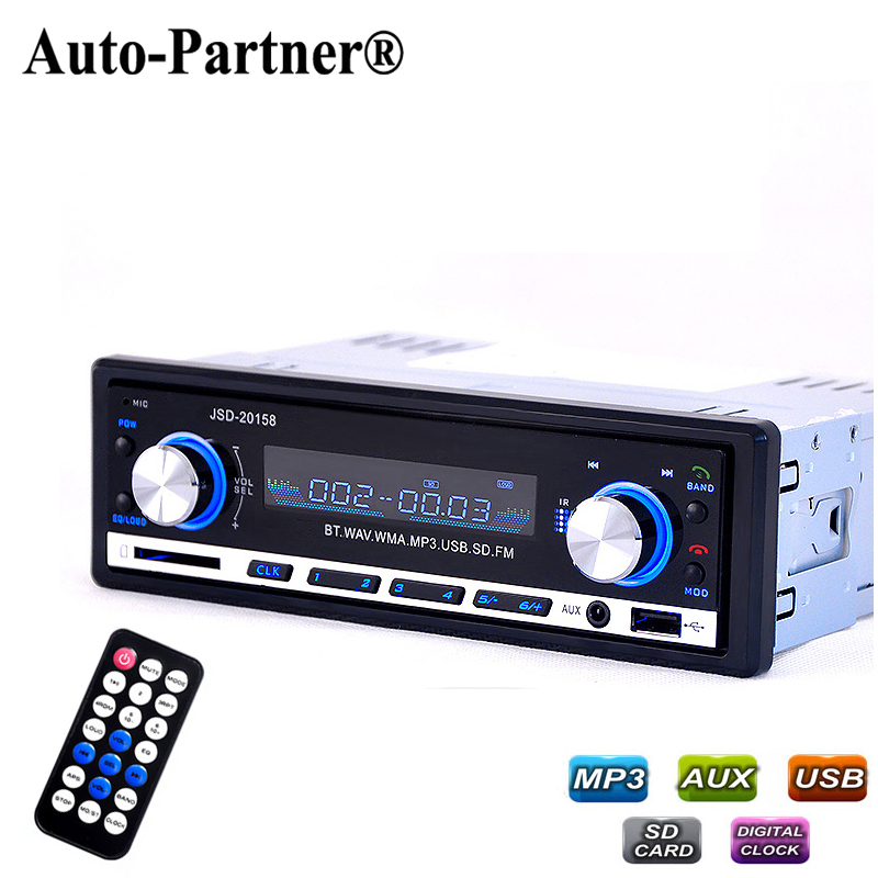 Car Radio Bluetooth V2.0 Autoradio JSD 20158 Car Stereo Audio In-dash FM Receiver Aux Input Receiver USB MP3 MMC WMA Radio