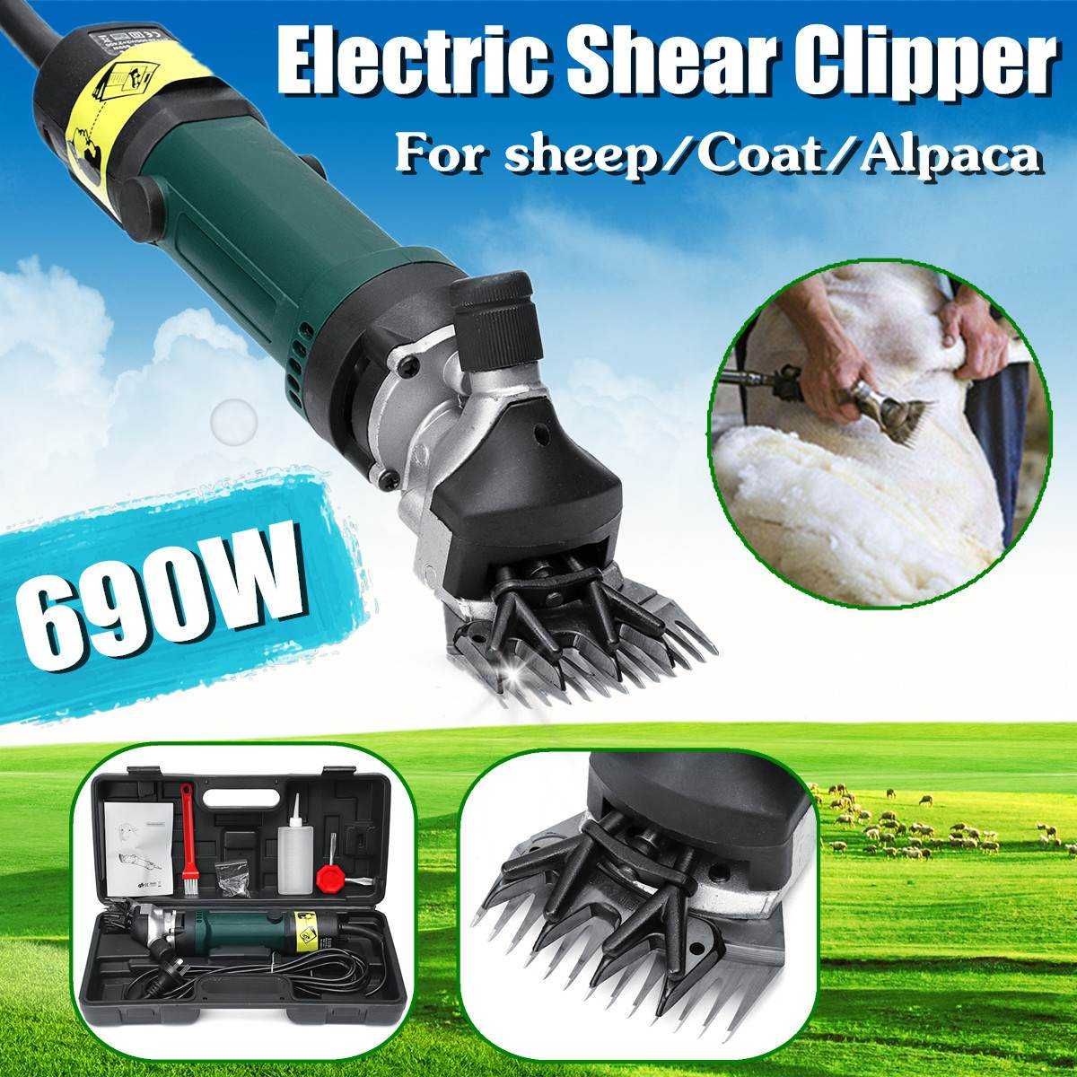 Hair Removal Trimmer 690W 6 Speed Adjustable Electric Sheep Shearing Clipper Shears Goat Light Weight Durable Solid High Speed