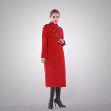 Autumn and winter high-end brand wool coat female long section of large yards woolen leather coat embroidery jacket