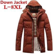 new Plus size 8XL 7XL Winter Men's Hooded down jacket White Duck Down Jacket Men's Thick Coats men's Parkas warm down jackets