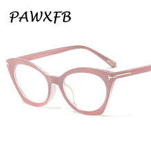 PAWXFB 2019 Fashion Spetacles Clear lens Glasses Frames Women Cat Eye Classic Computer Pink Eyeglasses