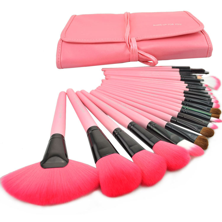 24pcs Pink Facial Makeup Brush Set Kit Cosmetic Makeup tools and Brushes with Case Free Shipping Wholesale