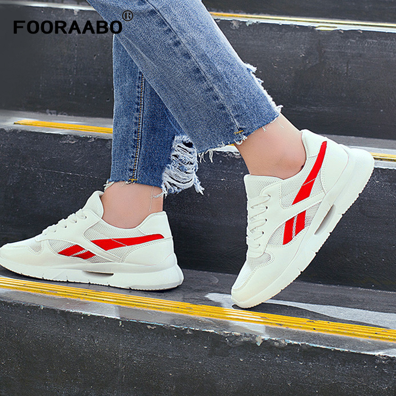 FOORAABO New Spring Women's Casual Shoes Flats Teni Feminino Fashion Breathable Autumn Women Shoes Red Female Zapatos Mujer spring summer women casual shoes flats ballet shoes new 2018 fashion light breathable bowknot shoes women mujer zapatos s022