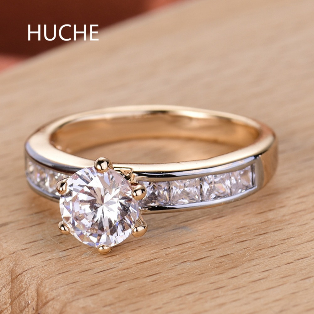 Huche Brand Wedding Decoration Finger Rings For Women Gold Color Costume  Jewelry Rings Cubic Zirconia Party