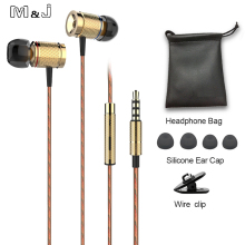 M&J M53 magnet movement earphone wire control E metal movement headsets with wheat 3.5mm plug gold gray black