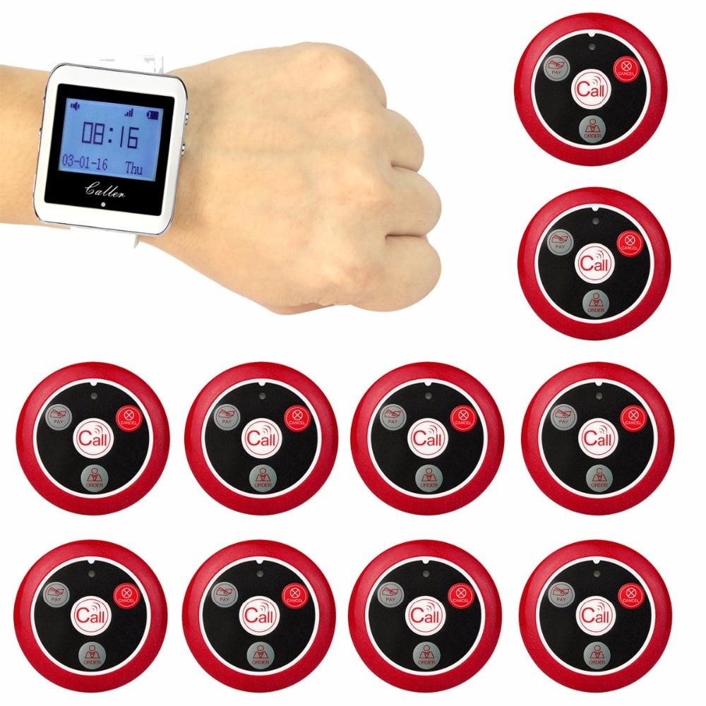 Récepteur de montre-bracelet sans fil Retekess + 10 bouton émetteur d'appel téléavertisseur à quatre touches système d'appel de Restaurant F9408A