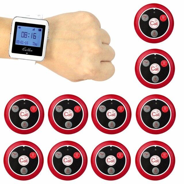 جهاز استقبال ساعة لاسلكي Retekess + 10 أزرار إرسال للاتصال جهاز النداء بأربع مفاتيح جهاز النداء نظام استدعاء المطاعم العملاء