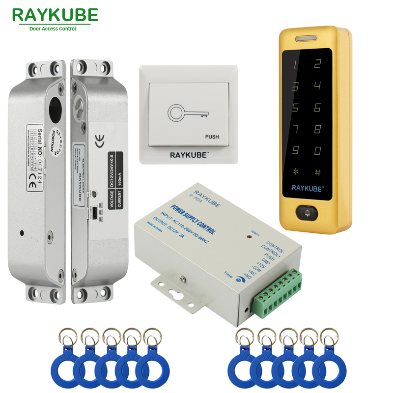 RAYKUBE FRID Access Control Kit Electric Mortise Lock + Touch Metal Keypad Door Security For Single Or Double Door raykube glass door access control kit electric bolt lock touch metal rfid reader access control keypad frameless glass door