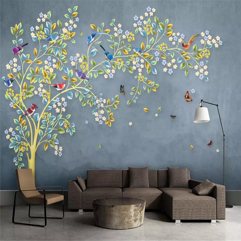 Wallpaper mural hand painted romantic tree fashion living room TV background wall family art high grade waterproof material in Wallpapers from Home Improvement
