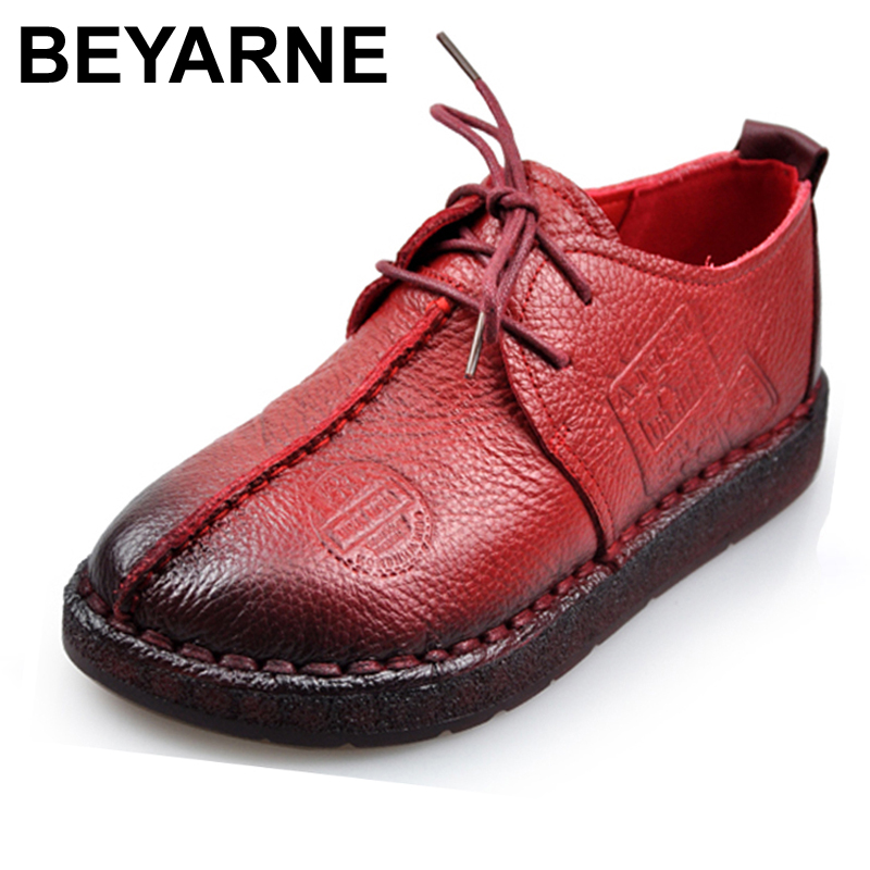 Fashion Retro Hand-Sewing Shoes Women Flats Genuine Leather