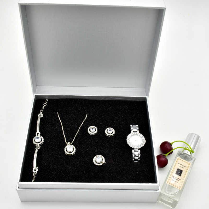 Womens Quartz Watch Set Luxury Five Piece Bracelet Necklace Ring Earrings Birthday Gift Fashion Valentines