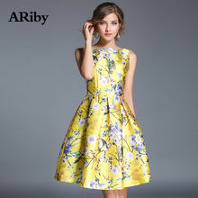 ARiby Women Dress Sweet Yellow Elegant Slim Printed Dress 2019 Summer Fashion Lady O-Neck Sleeveless Ball Gown Knee-Length Dress sweet square neck sleeveless circle printed dress for women